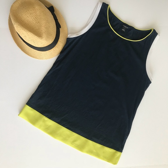 Ann Taylor Tops - Ann Taylor Navy and Lime Tank, Size Small